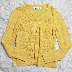 Sparrow Yellow Pointelle Knit Cardigan Sweater